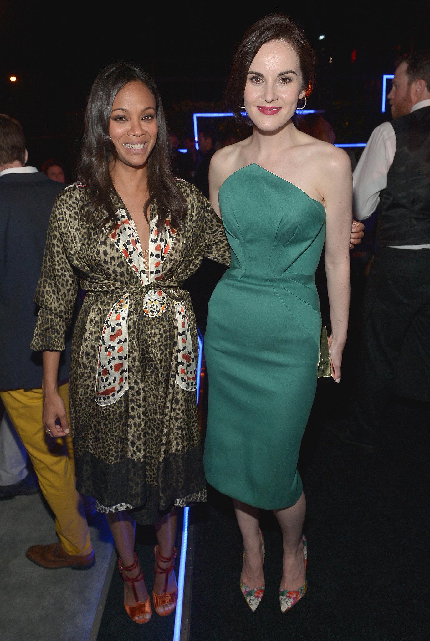 Michelle Dockery mingled with Zoe Saldana.