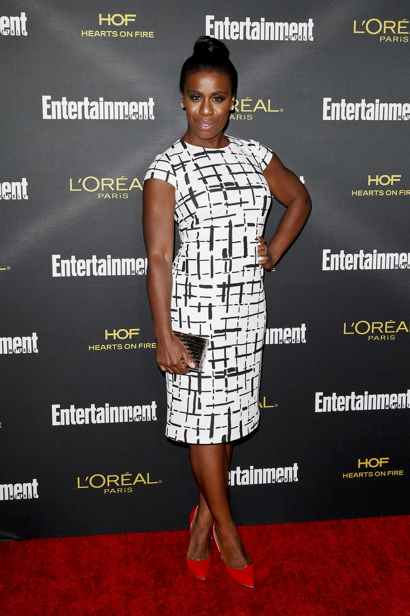 Uzo Aduba celebrated her Emmy win at Entertainment Weekly's party.