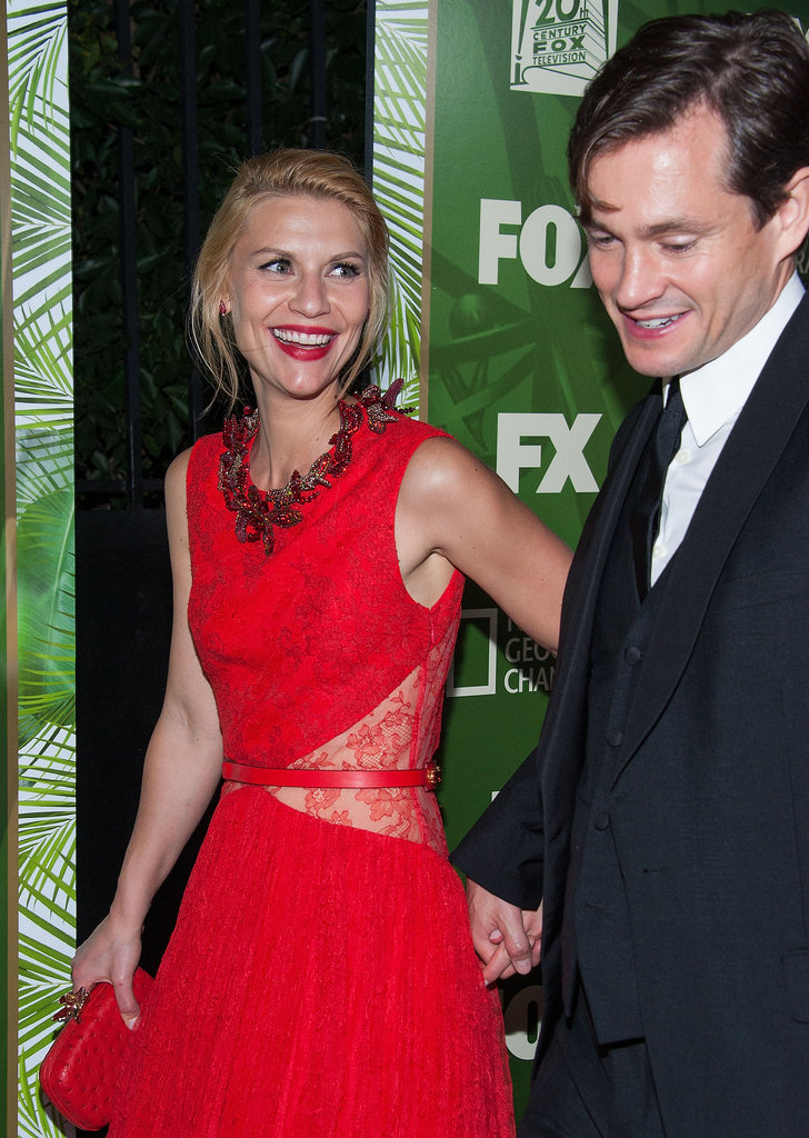 Claire Danes flashed a grin as she and husband Hugh Dancy hit up the Fox/FX bash.