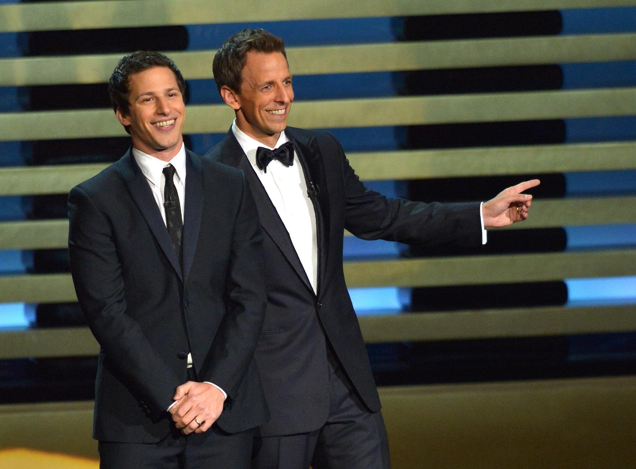 Andy Samberg and Seth Meyers joked around on stage.
