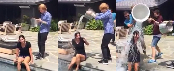 Courteney Cox Accepts Jennifer Aniston's Ice Bucket Challenge — With Ed Sheeran!