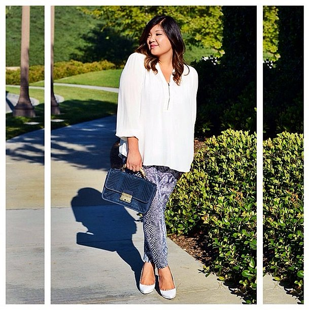 Deep navy and snakeskin-print skinnies feel right on point for crisp weather, but complete with your breezy Summer whites for a feminine touch. Source: Instagram user curvygirlchic