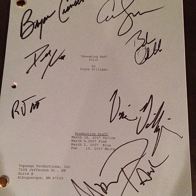 The script has been signed by several Breaking Bad actors, including Bryan Cranston.