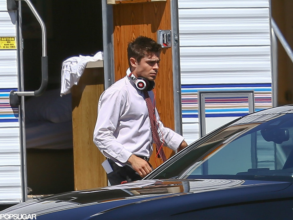 Zac Efron was in the zone on the set of We Are Your Friends in LA on Friday.