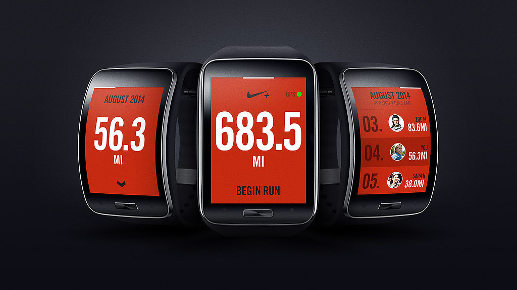 The Nike+ Running App has been redesigned for the Gear S. Source: Samsung