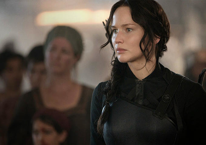 Lawrence as Katniss, aka the Mockingjay.