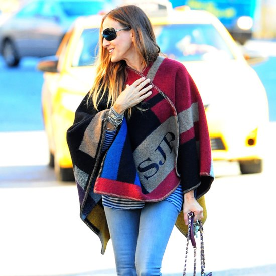 Celebrities Wearing Monogrammed Burberry Poncho