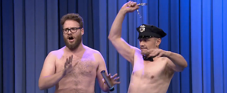 Shirtless Seth Rogen and James Franco Surprise Jimmy Fallon on His B-Day!