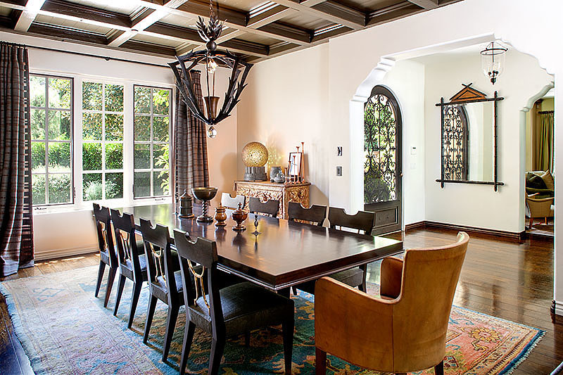 Who else wants to dine with Reese in her welcoming dining room? Check out that statement chandelier.  Source: David Offer Fine Homes