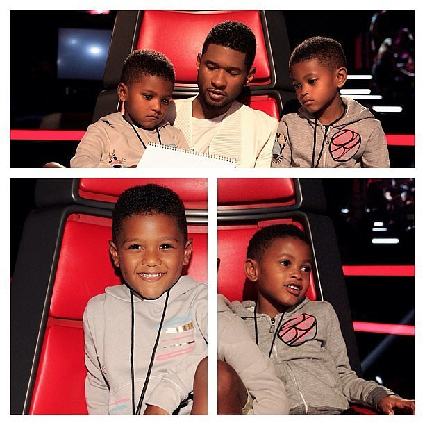 Usher's boys came to visit him on the set of The Voice in 2013.