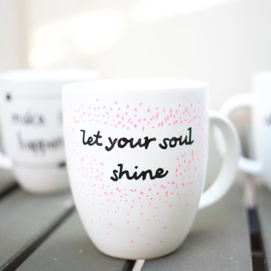 DIY Quote Stenciled Sharpie Mugs