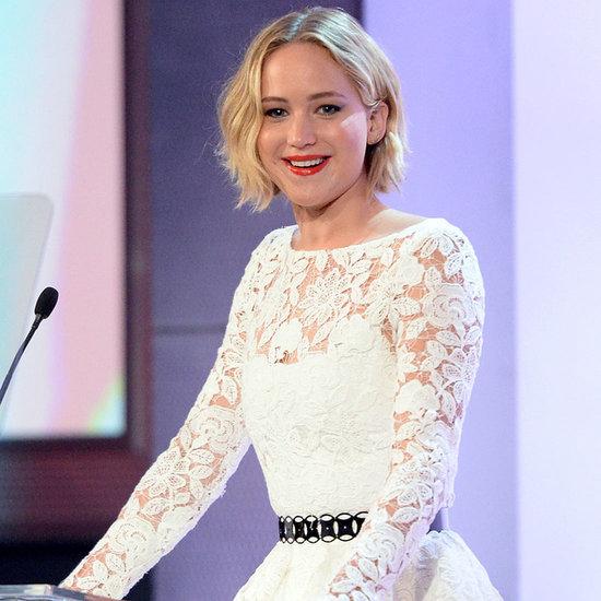 Jennifer Lawrence Wears Oscar de la Renta Spring 2015 First