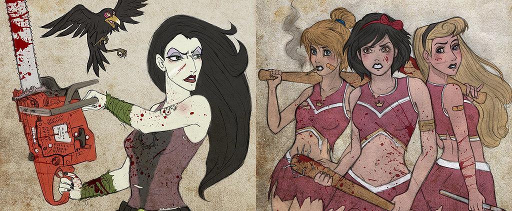 Disney Princesses Become Badass Zombie Fighters in Walking Dead Art