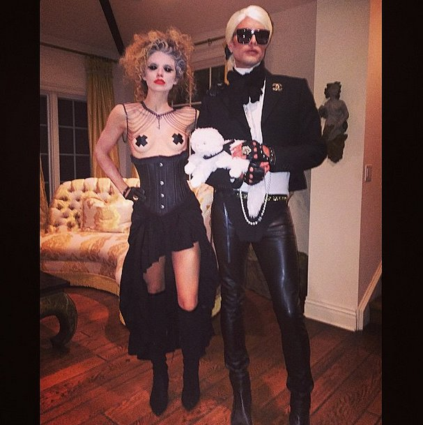 "AnnaLynne McCord and Erik Rudy went as the ""Creepy Chick"" and Karl Lagerfeld in 2014."