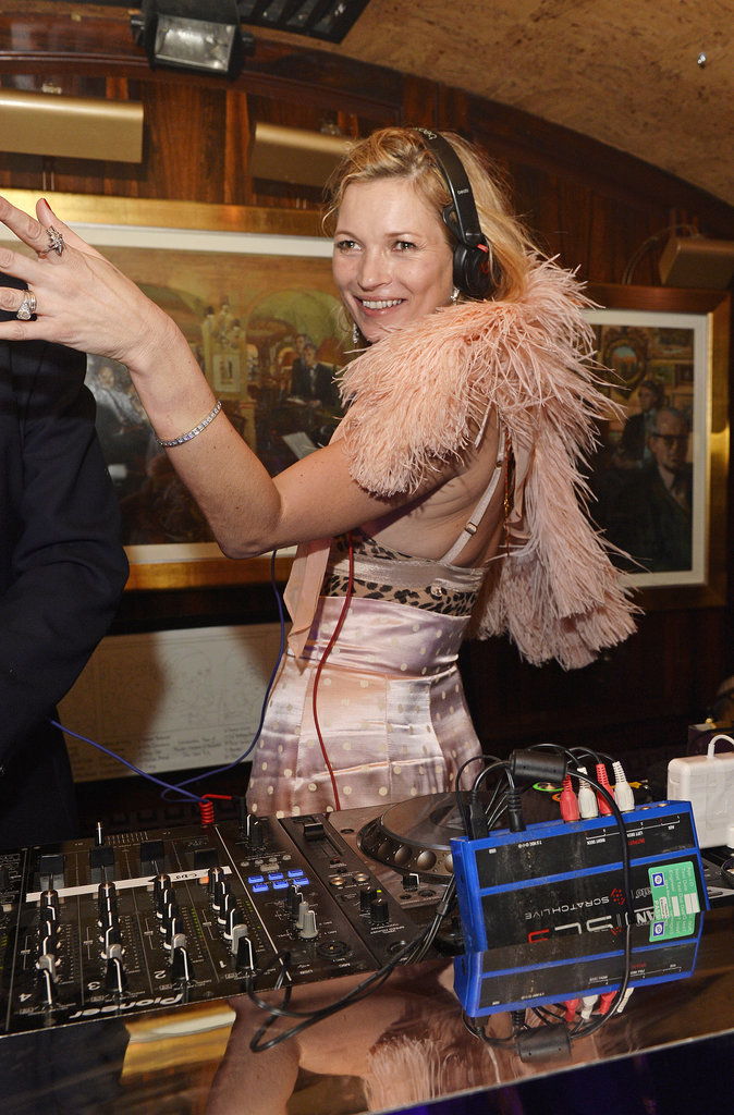 Kate Moss took control of the DJ booth during an event for Annabel's London on Tuesday.