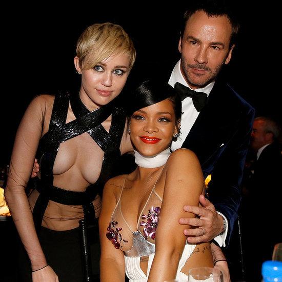 Rihanna and Miley Cyrus in Sexy Tom Ford Looks at amfAR Gala