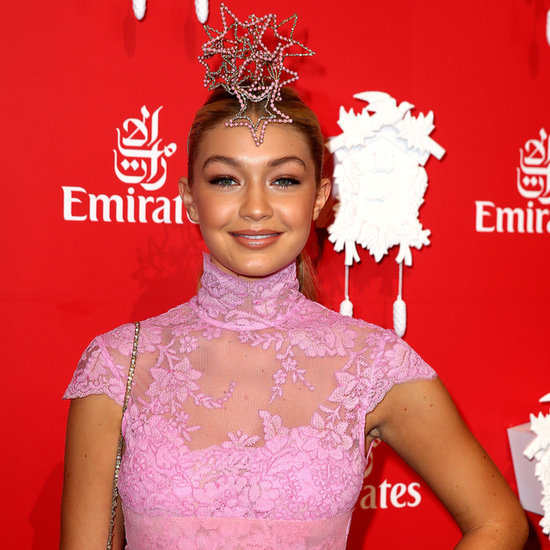 Gigi Hadid at 2014 Melbourne Cup in Alex Perry