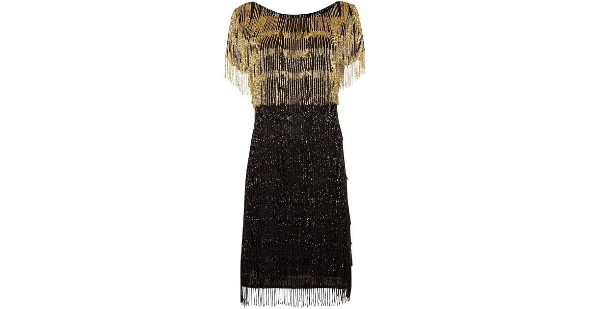 biba gold limited edition beaded tassel dress