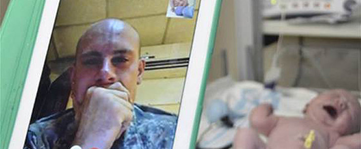 You'll Need a Tissue For This One: Watch a Deployed Soldier Meet His 1-Day-Old Daughter