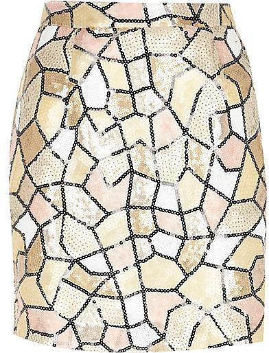 River Island Cream Pattern Mini Skirt