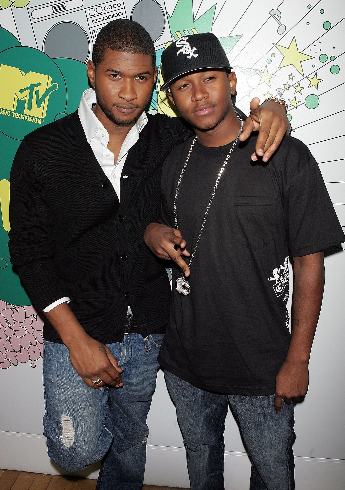 Photo of Usher Raymond & his friend celebrity  James Lackey - brother