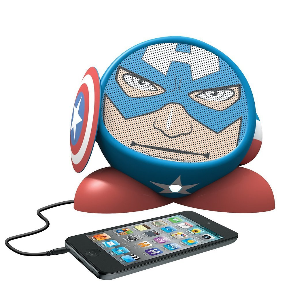 For 9-Year-Olds: eKids Marvel Avengers Captain America Rechargeable Character Speaker