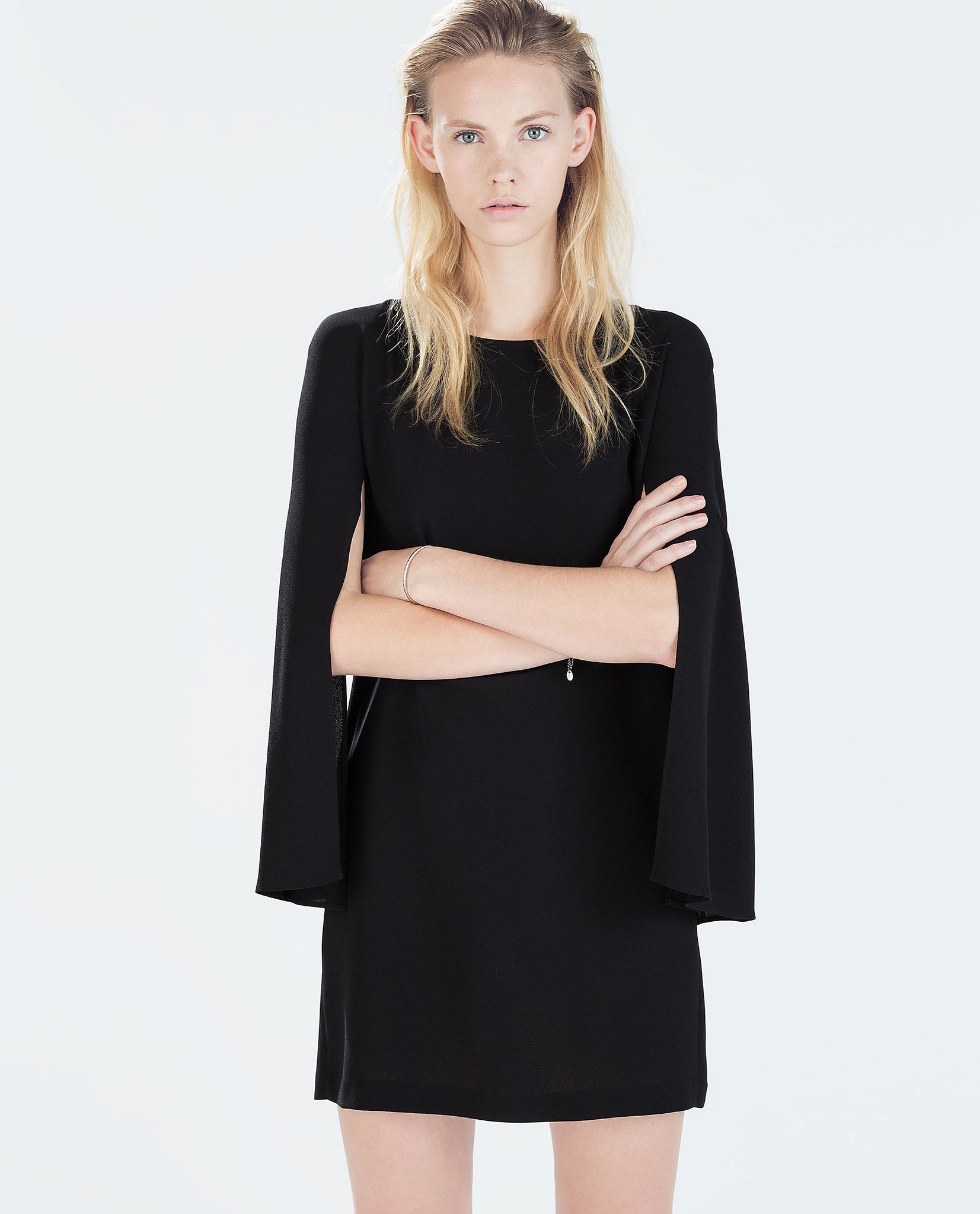 zara cape sleeved straight dress the dress trend all the celebrities are trying popsugar fashion. Black Bedroom Furniture Sets. Home Design Ideas