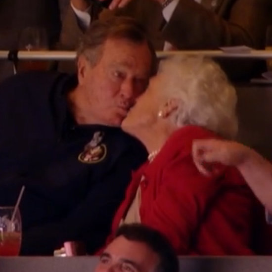 George H.W. Bush and Barbara Bush on the Kiss Cam | Video