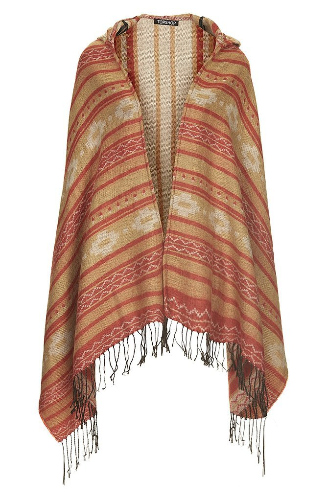 Topshop Hooded Blanket Print Wrap