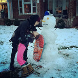 Justin Bieber Makes Thanksgiving Snowman With Pastor's Daughter: Picture