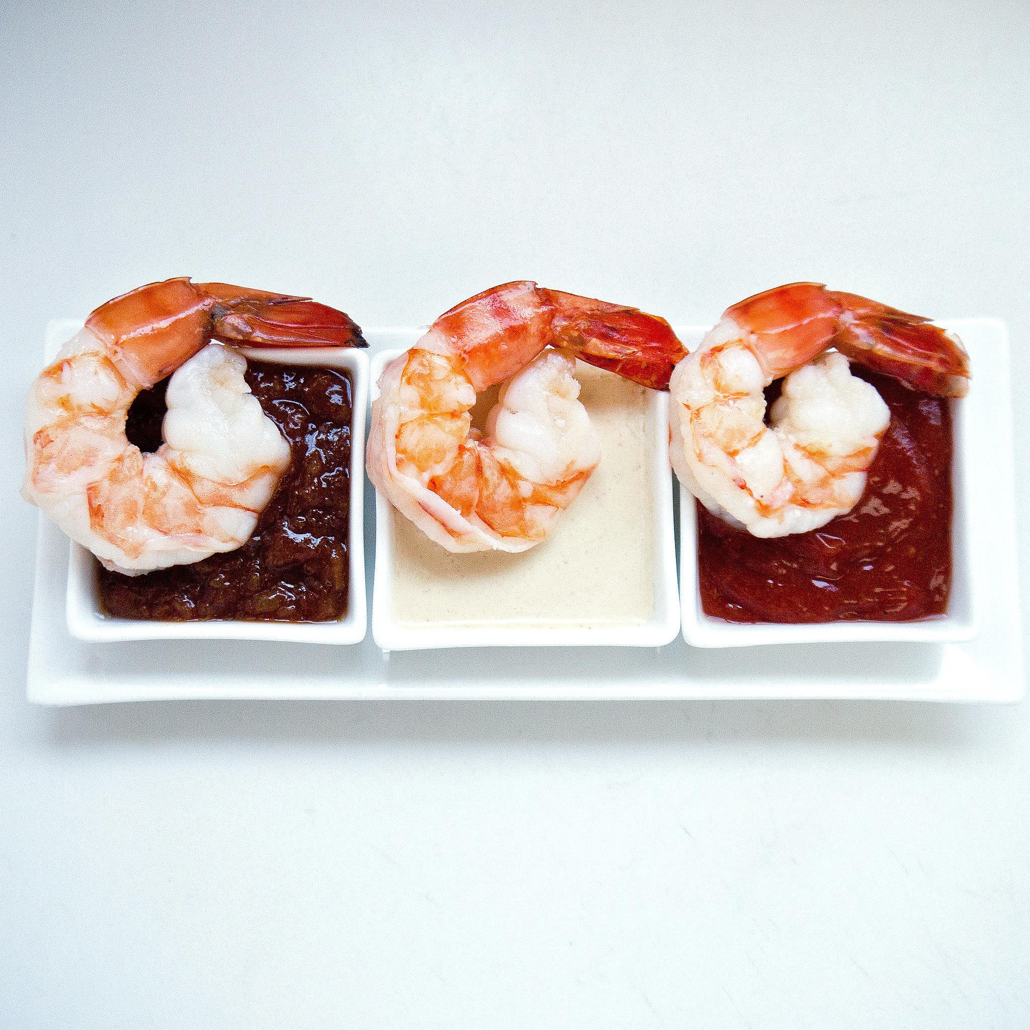 shrimp-cocktail dipping sauces — cocktail sauce, Thai peanut sauce ...