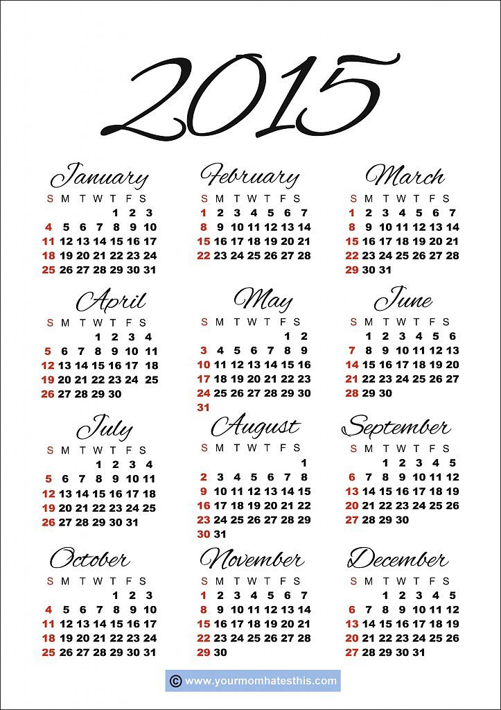 Jovial Agenda | 20 Free Printable 2015 Calendars to Ring In the New ...