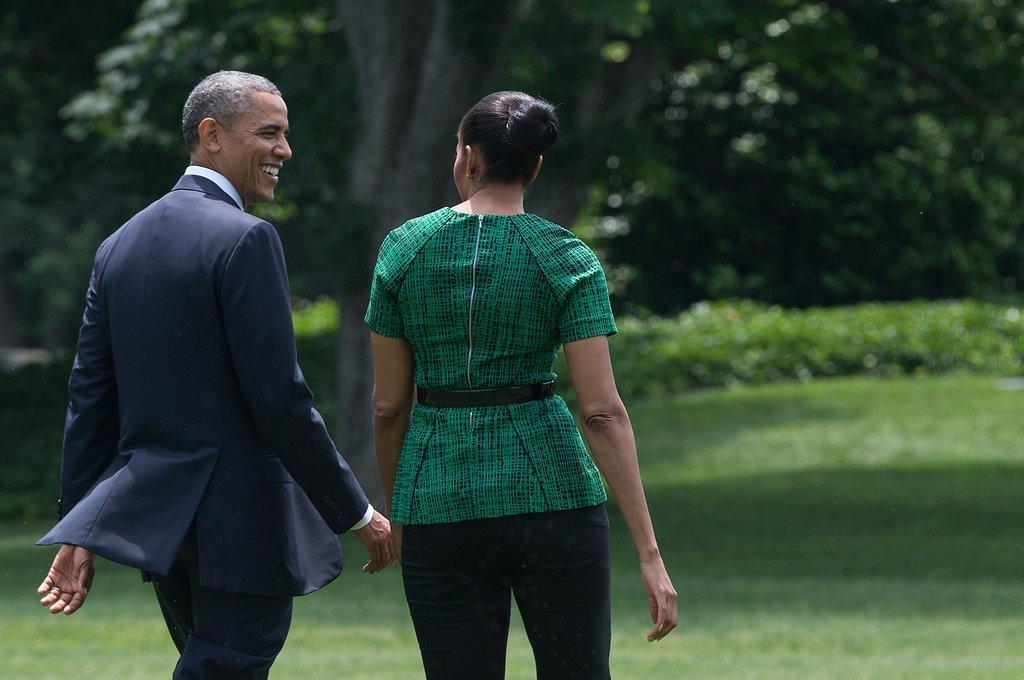 President Obama gave Michelle a sweet look as they left the White House in June.