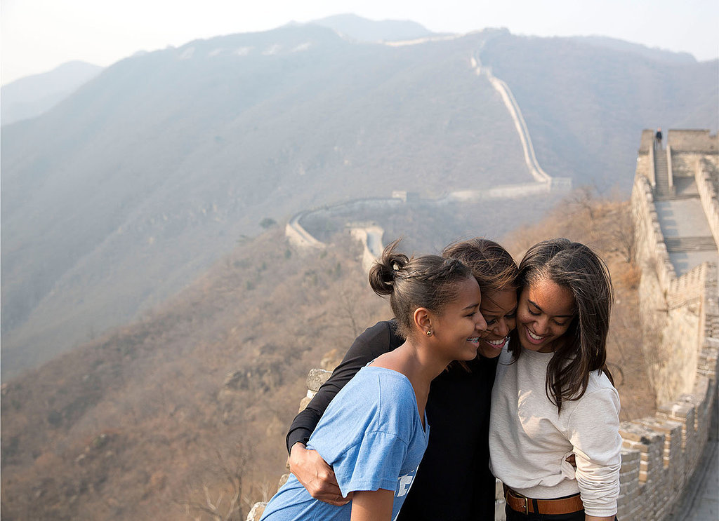 Michelle, Sasha, and Malia hugged it out at the Great Wall of China in March.