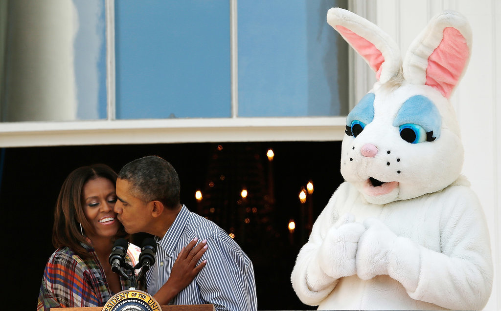 In April, the Obamas shared a cute kiss alongside the Easter bunny during the annual White House Easter Egg Roll.