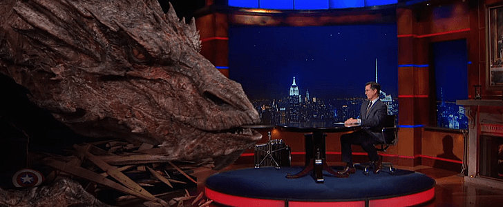Smaug Makes an Epic Visit to The Colbert Report