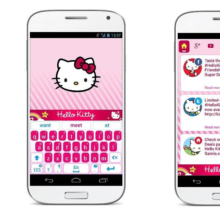 hello kitty keyboard app popsugar tech. Black Bedroom Furniture Sets. Home Design Ideas