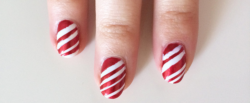 Turn Your Red Nail Polish Into Festive Candy Cane Nail Art