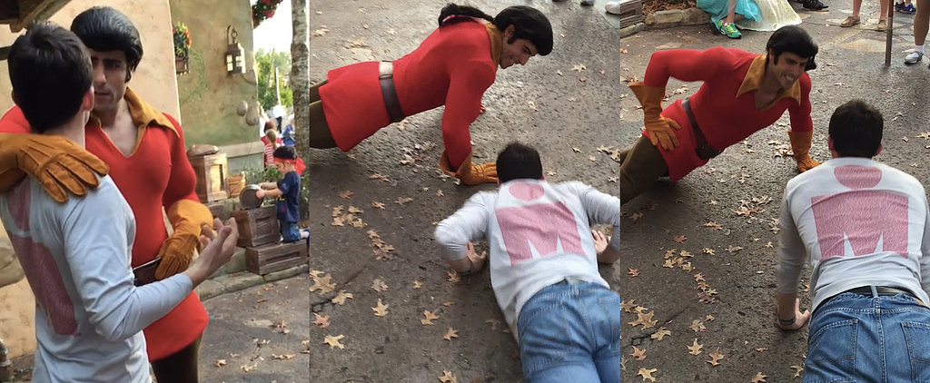 This Brave Man Challenges Disney's Gaston to a Push-Up Contest