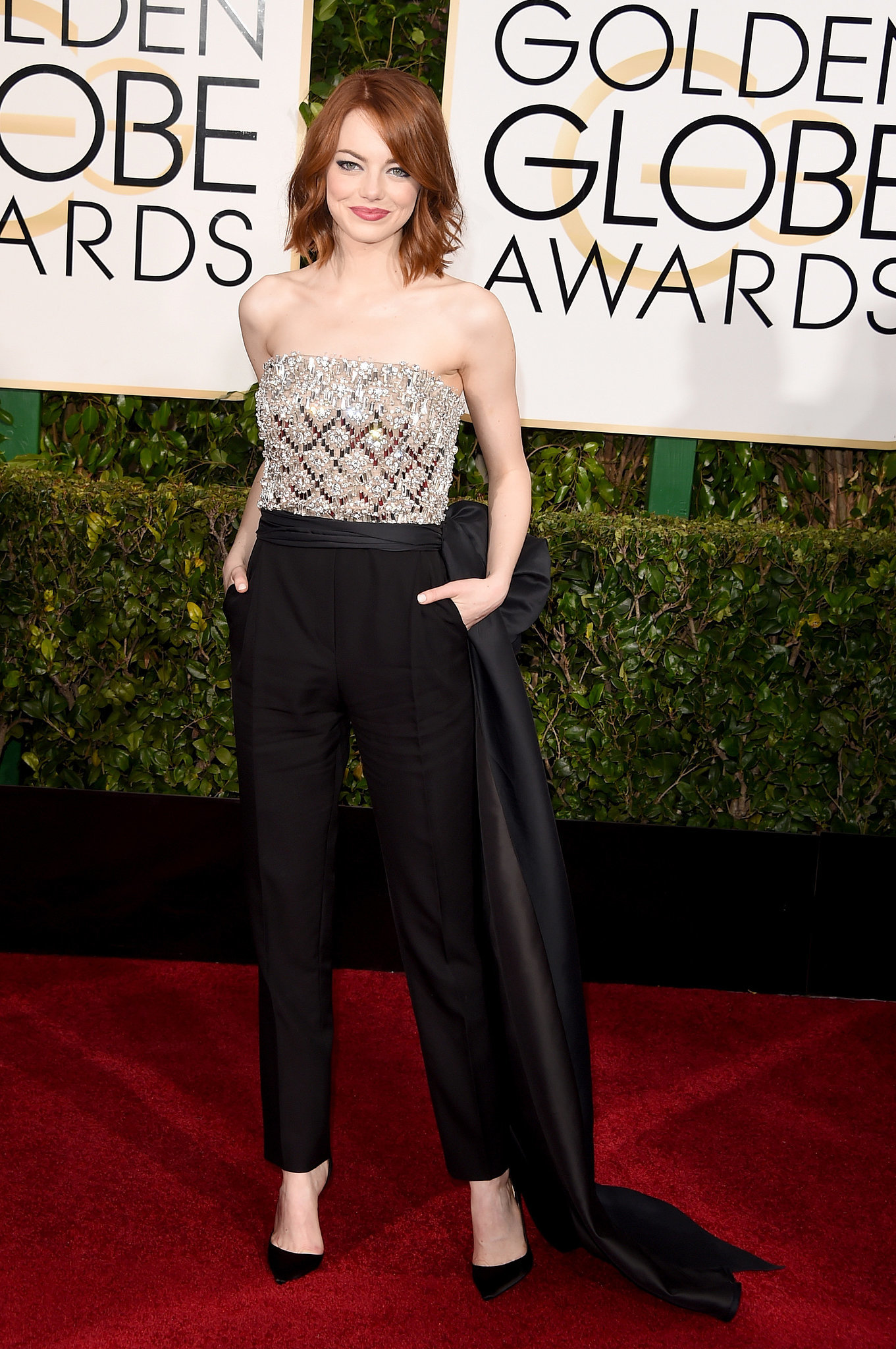 Emma Stone in Lanvin Jumpsuit at 2015 Golden Globes ... Emma Stone Golden Globes