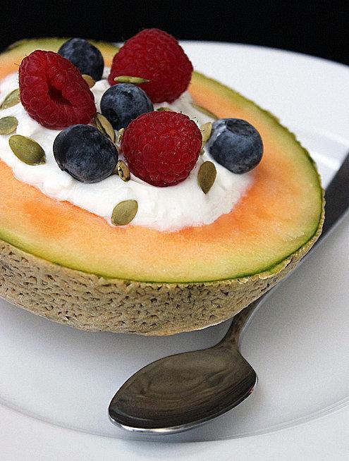 Yogurt-Filled Cantaloupe