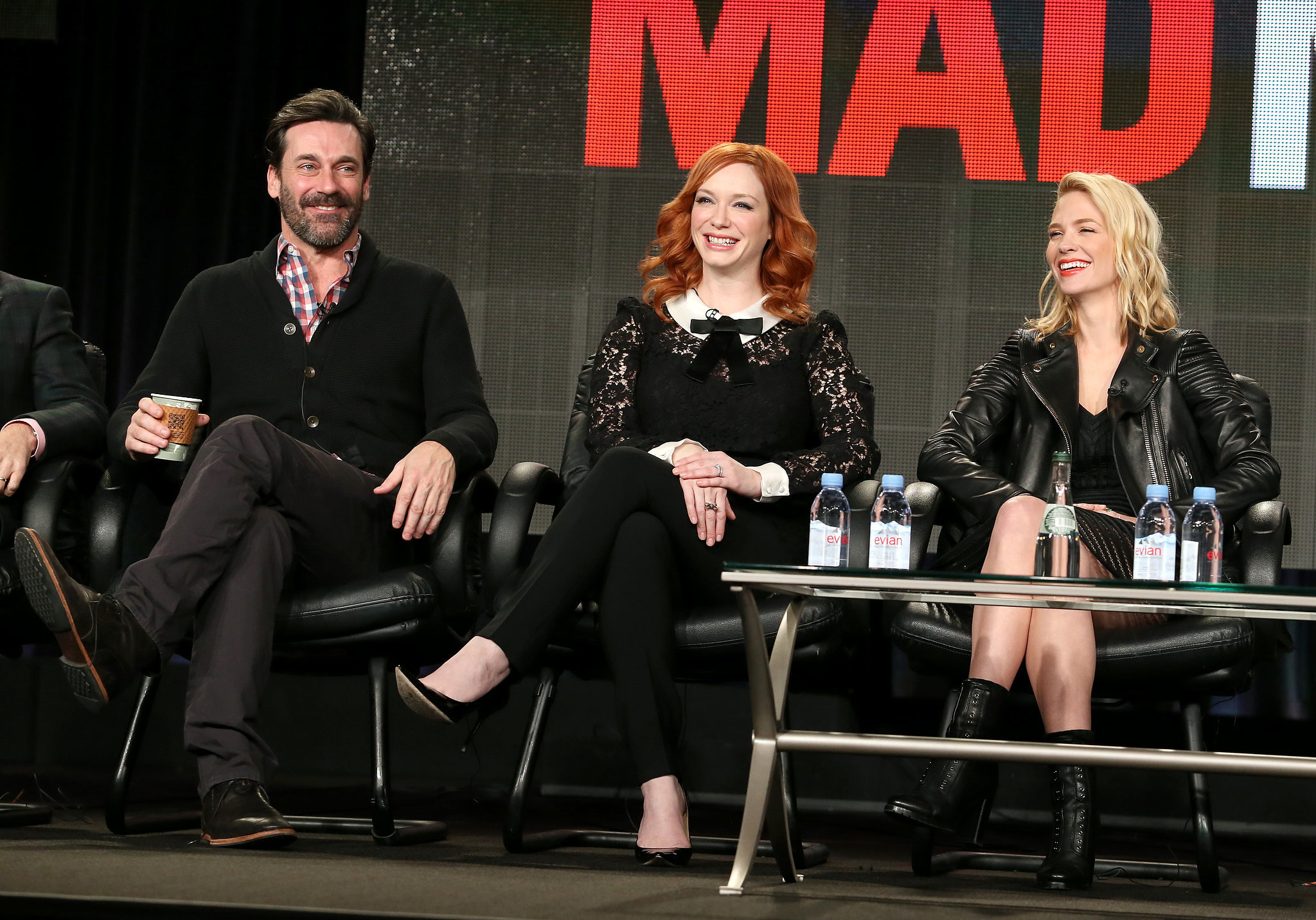 jon hamm christina hendricks and january jones chatted. Black Bedroom Furniture Sets. Home Design Ideas