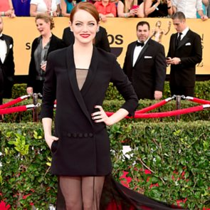 Emma Stone Wearing Dior Jacket and Dress 2015 SAG Awards