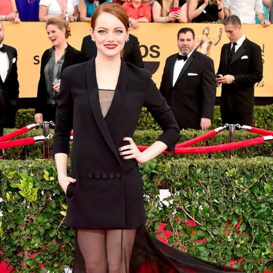 Emma Stone Wearing Dior Jacket and Dress 2015 SAG Awards