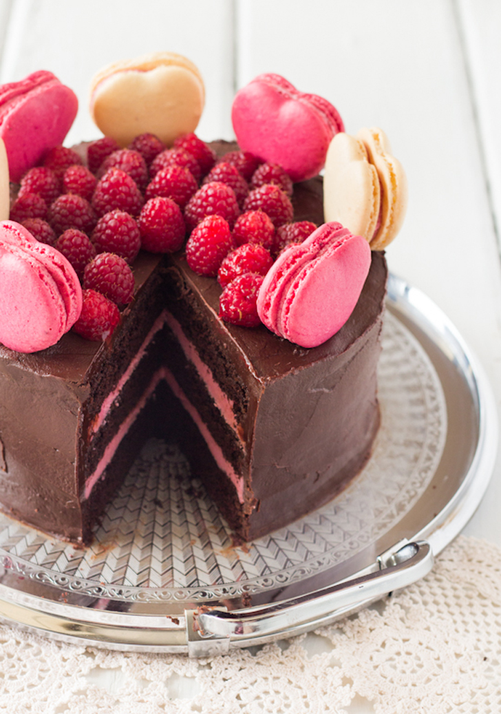 Chocolate-Raspberry Layer Cake With Macarons | 11 Macaron ...