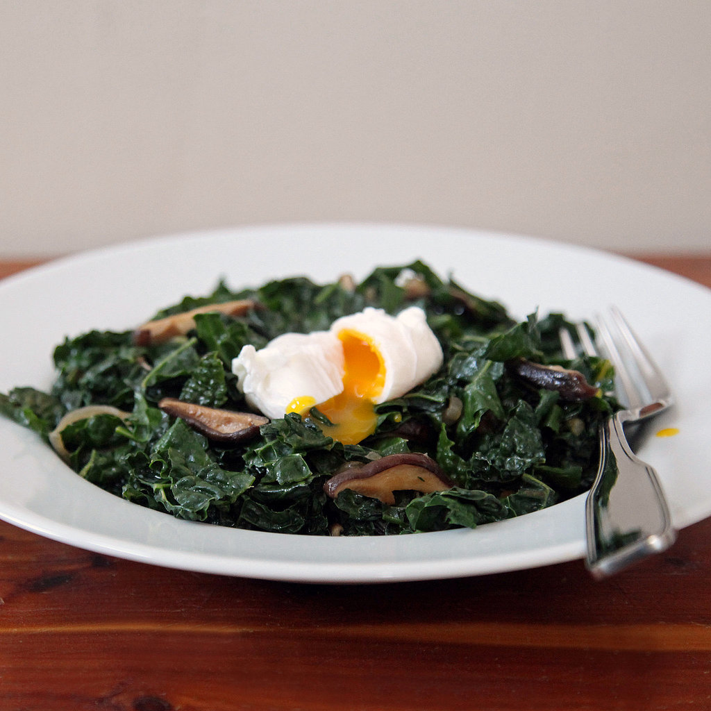 Miso-Glazed Kale and Shiitakes With a Poached Egg
