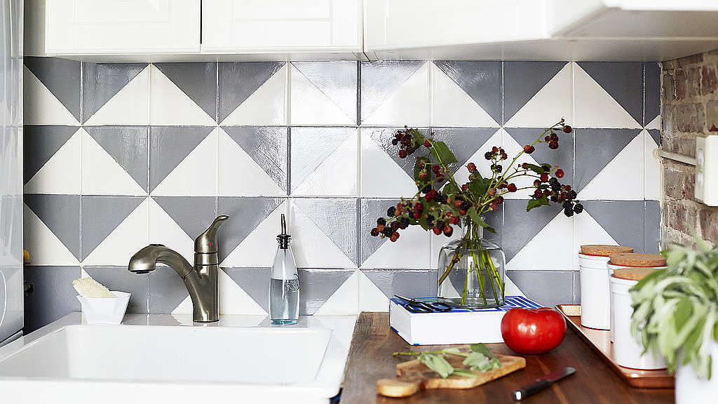 Update A Tired Tile Backsplash With This Paint Trick