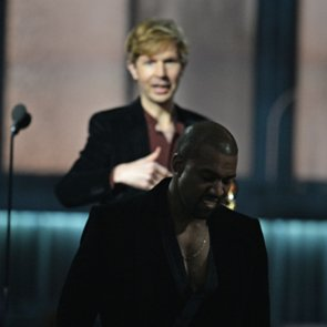 Kanye West Goes On Stage With Beck at 2015 Grammys