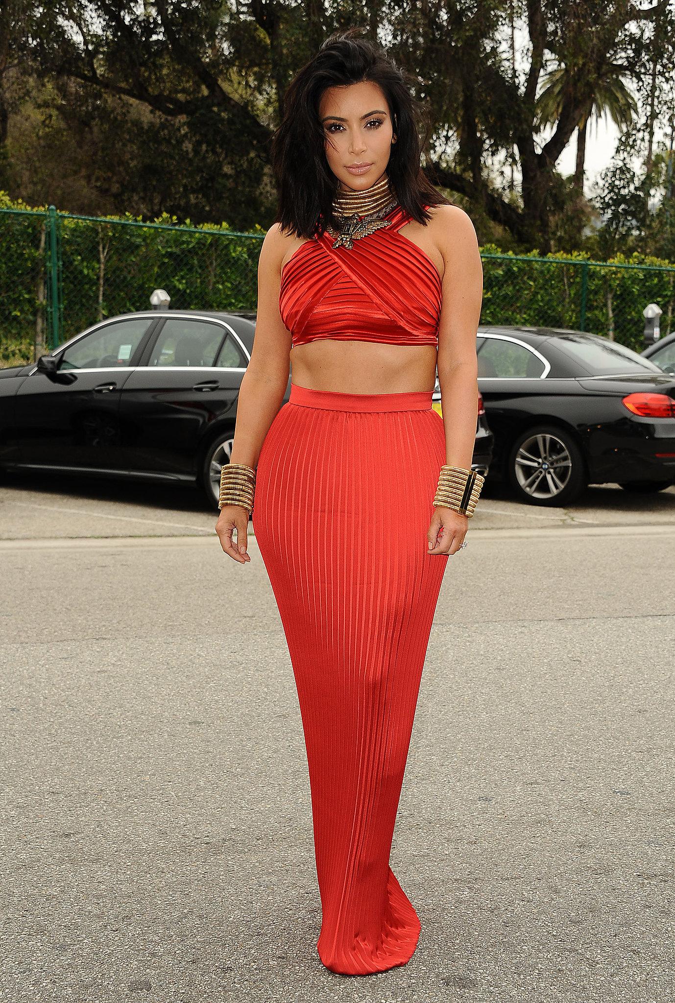 Kim Wore a Red Silk Balmain Crop Top and Skirt to a Pre ...