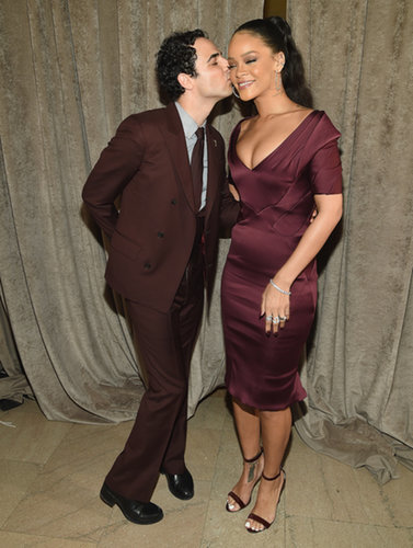 The sexy singer was practically blushing as she received a kiss from designer Zac Posen at his show during Fashion Week.